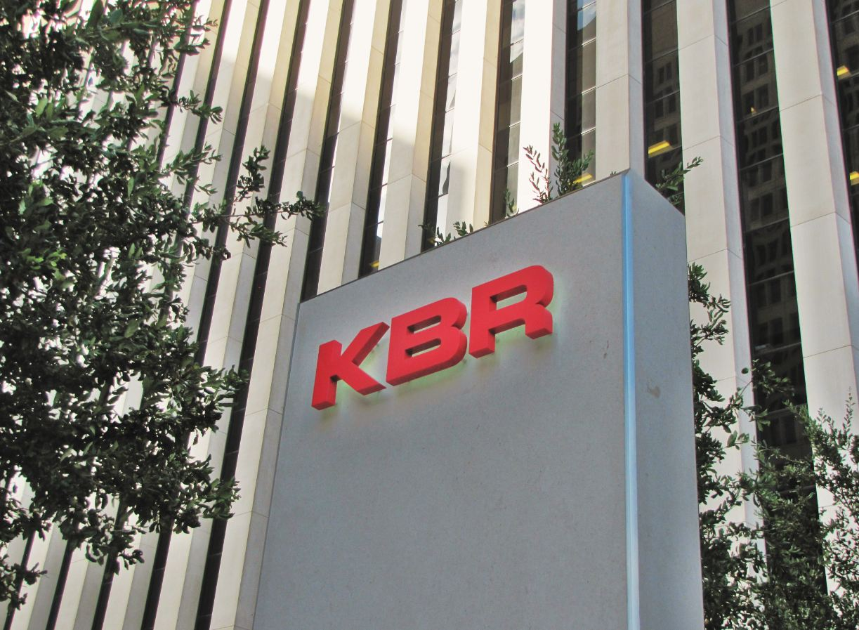 KBR-logo-sign-at-corporate-headquarters-in-Downtown-Houston-CBD